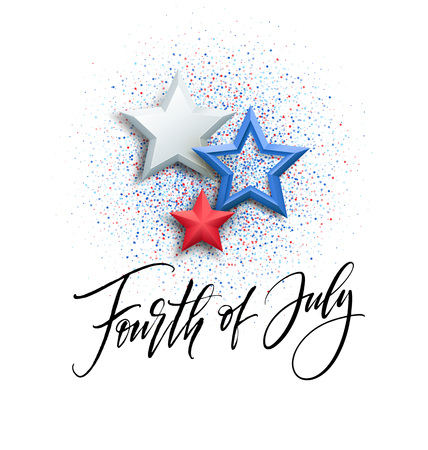 Fourth of July celebration banner, greeting card design. Happy independence day of United States of America hand lettering. USA freedom background. Vector illustration Ilustrace