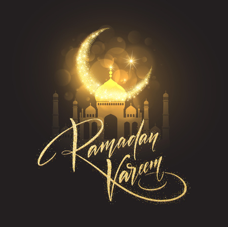 Greeting card with Creative Text Ramadan Kareem made by golden glitter. Vector illustration
