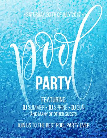 Cartel de la fiesta de la piscina con la ondulación del agua azul y escribir a mano . ilustración vectorial Foto de archivo - 80258810