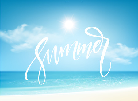 Summer Brush lettering composition on blue sea background. Vector illustration