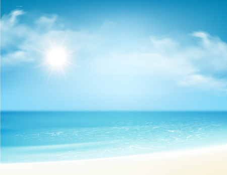 Beach and tropical sea with bright sun. Vector illustration Vectores