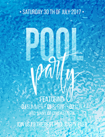 blue party: Pool party poster with blue water ripple and handwriting text. Vector illustration Illustration
