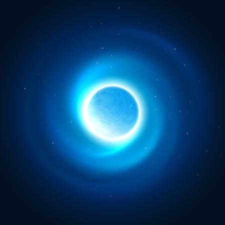 행성 배경의 우주 광선입니다. 벡터 일러스트 레이 션