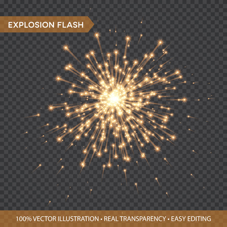 Golden glowing lights effects isolated on transparent background. Explosion Flash with rays and spotlight. Star burst with sparkles. Vector illustration Çizim