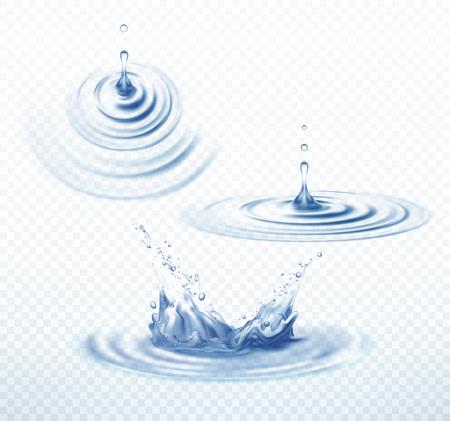 Realistische transparante Drop en cirkel rimpelingen instellen op geïsoleerde achtergrond. Vector illustratie