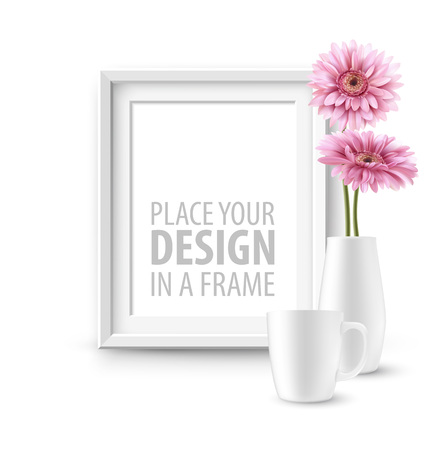 Mock up frame Wall of the interior background. Vector illustration Illustration