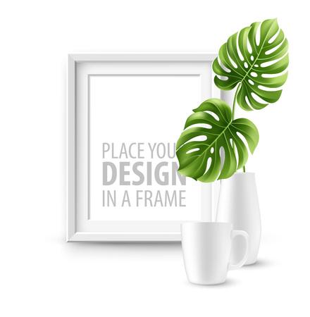 Mock up frame Muur van de binnenlandse achtergrond. Vector illustratie