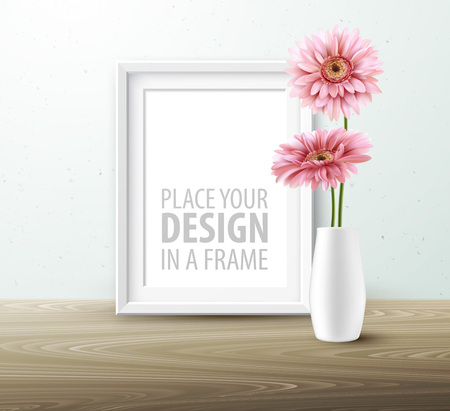 Mock up frame Wall of the interior background. Vector illustration Ilustracja
