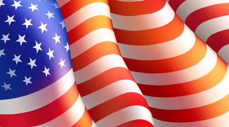 democracia: Cuarto de julio cartel del día de la independencia o plantilla de la tarjeta con la bandera americana. Ilustración vectorial