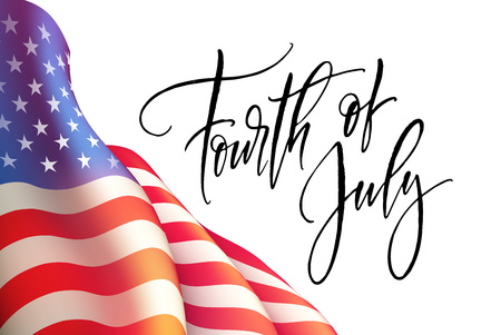 Fourth of July Independence Day poster or card template with american flag. Vector illustration Çizim