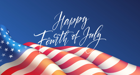Fourth of July Independence Day poster or card template with american flag. Vector illustration 矢量图像