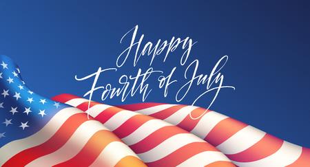 Vierte Juli-Unabhängigkeitstagplakat oder Kartenschablone mit amerikanischer Flagge. Vektor-Illustration
