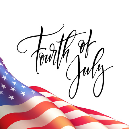 Fourth of July Independence Day poster or card template with american flag. Vector illustration Ilustração