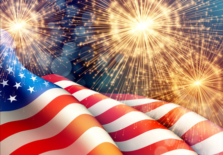 Fireworks background for 4th of July Independense Day with american flag. Vector illustration Çizim