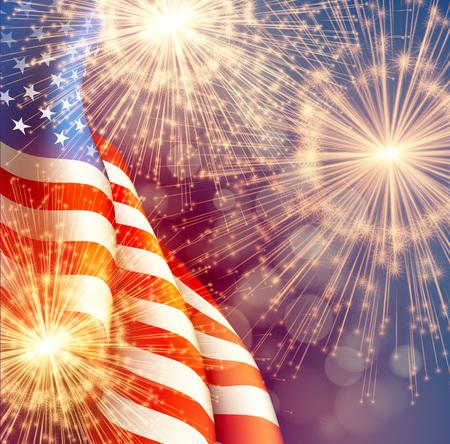 Fundo dos fogos-de-artifício para o 4 de julho Independense Day com bandeira americana. Ilustração vetorial Foto de archivo - 80330129