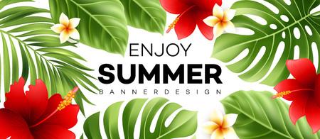 熱帯植物と夏販売バナー。ベクトル図