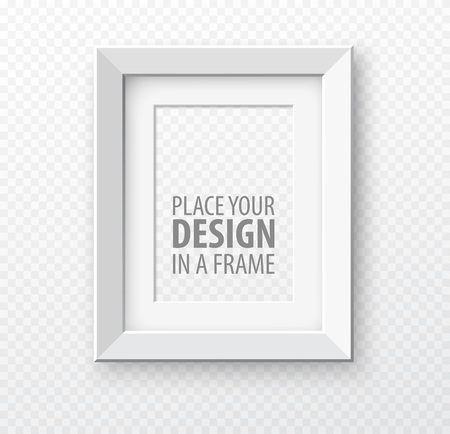 Vertical frame mock up on transparence background with realistic shadows. Vector illustration