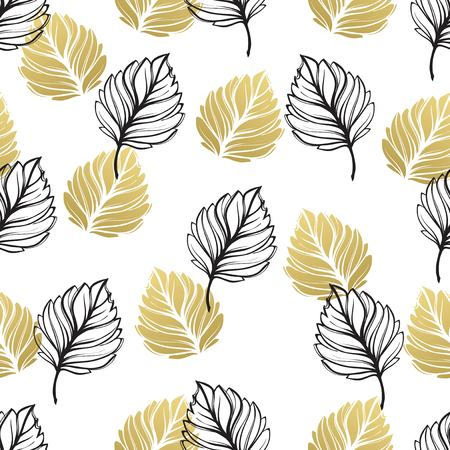 Gold autumn floral background. Glitter textured seamless pattern with fall golden and black leaf. Vector illustration EPS10.