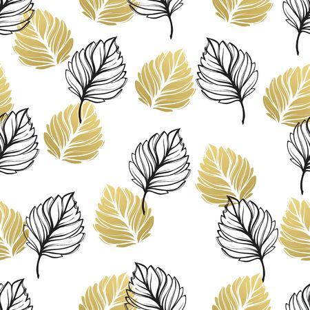 or automne floral fond. texturé texturé fond texturé avec l & # 39 ; or et la feuille noire . vector illustration eps.10
