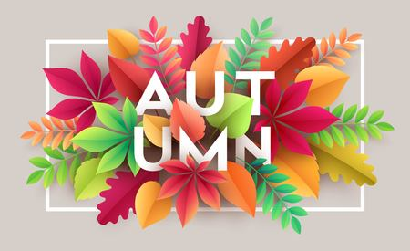 halloween background: Autumn banner background with paper fall leaves. Vector illustration Illustration