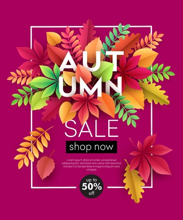 Autumn banner background with paper fall leaves. Vector illustration Çizim