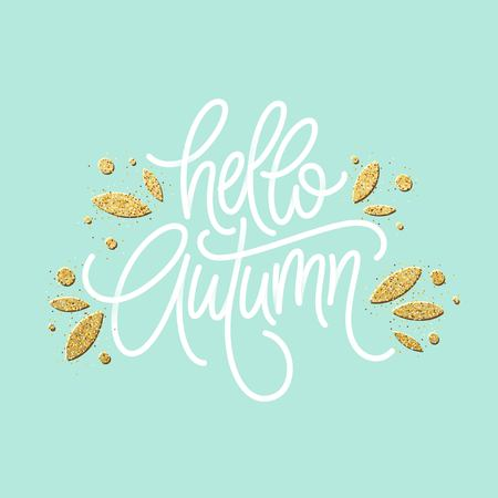 Autumn - Hand drawn vector typography with line leaf pattern in golden glitter color. Vector illustration