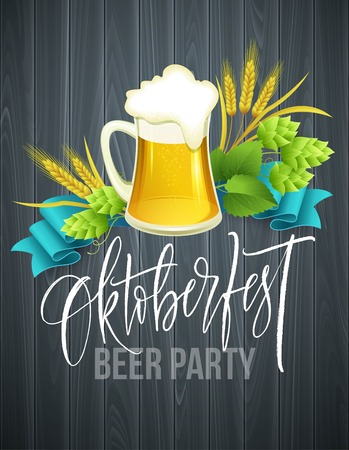 Poster template of Oktoberfest beer party with different objects related to beer Illustration