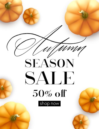 Design banner Autumn sale. Fall poster design with pumpkin. Vector illustration