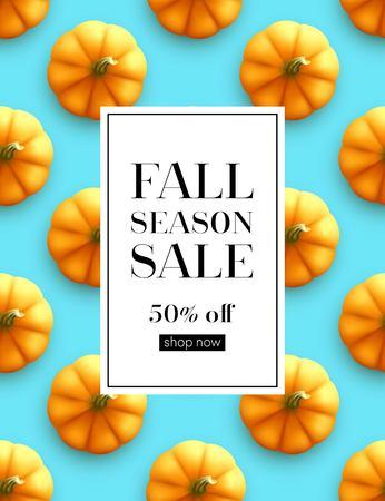 Design banner Autumn sale. Fall poster design on the pumpkin seamless patttern. Vector illustration