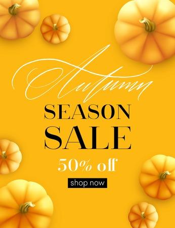 Design banner Autumn sale. Fall poster design with pumpkin. Vector illustration