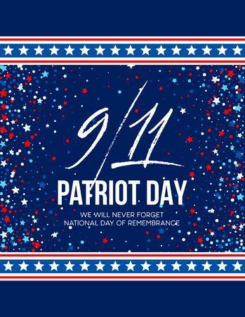 2001 年 9 月 11 日愛国者の日の背景。我々 は決して忘れないでしょう。背景。  イラスト・ベクター素材