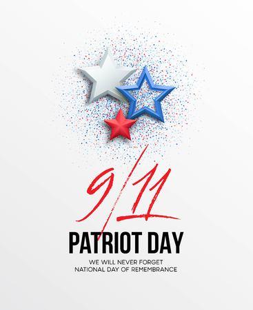 11 september 2001 Patriot Day achtergrond. We zullen nooit vergeten. achtergrond. Vector illustratie