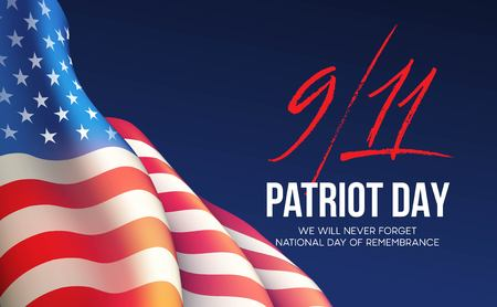 September 11, 2001 Patriot Day background. We Will Never Forget. background. Vector illustration Çizim