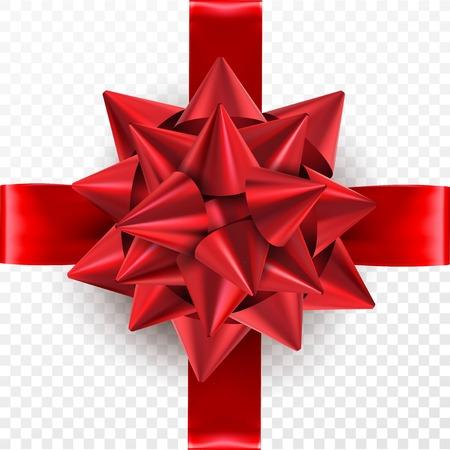 Rode geschenk strik op een transparante achtergrond. Sjabloon voor briefkaart, flyer, folder ontwerp. Vector illustratie Stock Illustratie