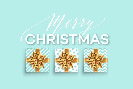 christmas background with gifts boxes with a gold bow template