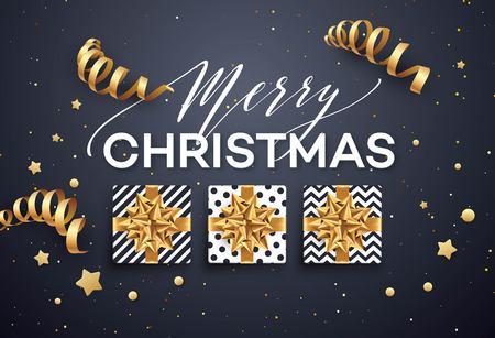 Kerstmisachtergrond met giftdoos met gouden boog, wimpels, confettien, een twijg van Kerstboom. Sjabloon voor briefkaart, brochure, folders, poster. Vector illustratie