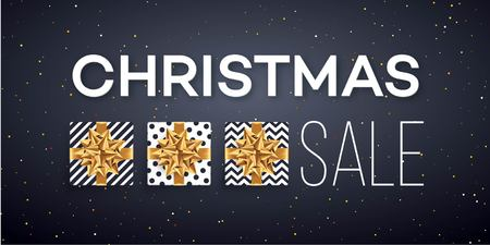 Christmas sale background with gifts boxes with gold bow. Template for postcard, booklet, leaflets, poster. Vector illustration Ilustracja
