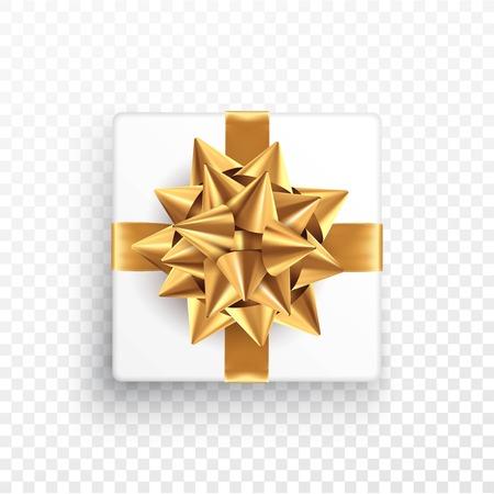 透明な背景にゴールドの贈り物の弓。はがき、チラシ、リーフレットのデザインのためのテンプレート。ベクターイラスト
