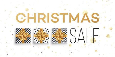 Christmas sale background with gifts boxes with gold bow. Template for postcard, booklet, leaflets, poster. Vector illustration Stock Illustratie
