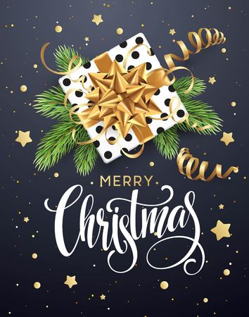 Christmas background with gift box with gold bow, streamers, confetti, a sprig of Christmas tree. Template for postcard, booklet, leaflets, poster. Vector illustration Ilustracja