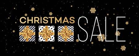 De achtergrond van de Kerstmisverkoop met giftendozen met gouden boog. Sjabloon voor briefkaart, brochure, folders, poster. Vector illustratie