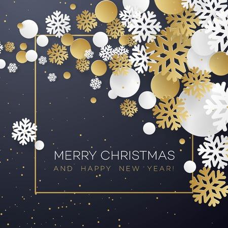 Kerstmisachtergrond met gouden en Witboeksneeuwvlokken op zwarte. Sjabloon voor briefkaart, brochure, folders, poster. Vector illustratie EPS10