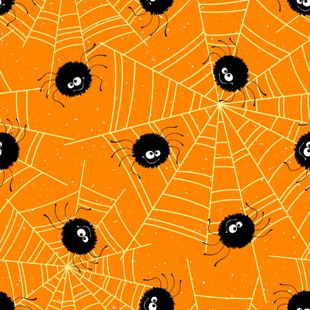 Halloween seamless background with spiders and web. Vector illustration