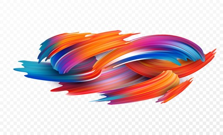 Color brushstroke oil or acrylic paint design element for presentations, flyers, leaflets, postcards and posters. Vectores