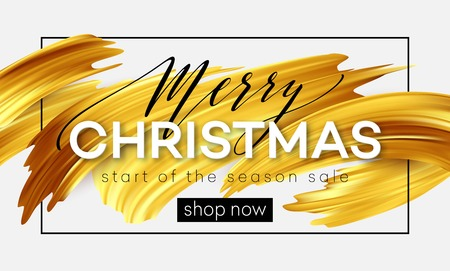 Vrolijk kerstfeest belettering op een achtergrond van een gouden penseelstreek olie of acrylverf. Verkoop ontwerpelement voor presentaties, flyers, folders, ansichtkaarten en posters. Vector illustratie