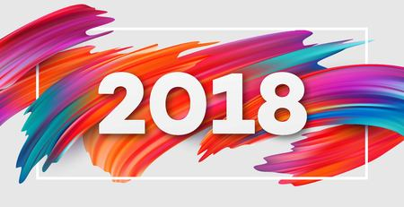 2018 New Year on the background of a colorful brushstroke oil or acrylic paint design element for presentations, flyers, leaflets, postcards and posters. Vector illustration Stok Fotoğraf - 87160655