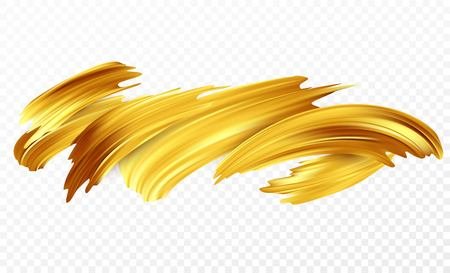 Background of a gold brushstroke oil or acrylic paint design element for presentations, flyers, leaflets, postcards and posters. Vector illustration