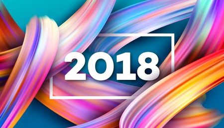 2018 New Year on the background of a colorful brushstroke oil or acrylic paint design element for presentations and more.
