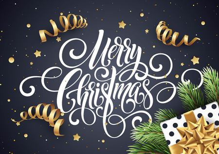 Merry Christmas handwriting script lettering. Christmas congratulatory background with a gift, streamers, confetti. Vector illustration Иллюстрация