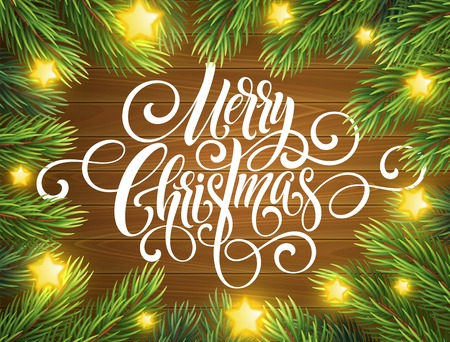 Merry Christmas handwriting script lettering. Greeting background with a Christmas tree. Vector illustration